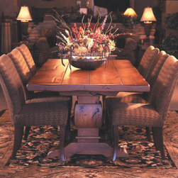 """Haak Designs - Knotty Alder Trestle Table with 3"""" thick top - Knotty Alder Trestle Table shown with optional 3"""" thick top. Size of table shown is 42"""" by 84"""" by 30"""" high. Size of table can be customized to fit your needs. Other finishes available.  Haak Designs"""