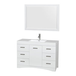 "Wyndham Collection - Delray Glossy White Vanity With Acrylic-Resin Top, Sink and Mirror - Sleek and fashion-forward, the Delray vanity is a unique expression of modern design and elegance, practical yet still a showpiece. Polished chrome door accents and modern luxuries like soft-close doors and drawers and a gorgeous white resin integrated sink bring the finishing touches to your new bathroom. Plenty of storage and counter space, easy cleaning, and serious ""wow"" factor - this vanity has it all!"