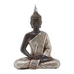 "BZBZ44127 - Thai Buddha Meditating Peace Harmony Statue - 11"" Thai Buddha meditating peace harmony statue. Enhance your home and garden by this grace full Buddha Statue symbol of peace and harmony. Statue is in meditating pose. This statue is 11 inches tall x 8 inches wide and made in holystone material. Statue color is black with silver robe."