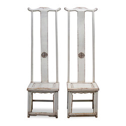 "China Furniture and Arts - Elmwood Ming Tall Chair - Throughout centuries, Chinese artists from generation to generation have adopted the Ming aesthetic principle that ""simplicity is beauty"". Exemplary of this principle, our pair of Elmwood high-backed Ming chairs are constructed with a clean and sleek design. Hand applied white distressed finish. Sold individually at $699.00 each."