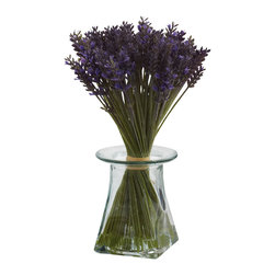 "Nearly Natural - Lavender Bundle w/Vase - Just the name ""Lavender"" suggest beauty, grace, and an essence of class. And that's easy to see when you gaze upon this Lavender arrangement. It features beautiful green stalks twisting around, ending in fluffy blooms, all wrapped up in a handsome decorative vase, complete w/ Liquid Illusion faux water. Perfect for home or offices, it also makes a great gift."