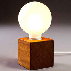 "Solid Wood Lamp ""Enkle"" By Nord Architect-Design - This light is small and simple, with a touch of industrial and of course, wood! I would place a bunch of these all over a room. Or, place them on the wall as sconces!"