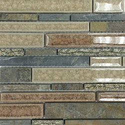 Shangri-La Slate Random Brick Glass and Stone Tile - Shangri-La Slate Random Brick Glass + Stone Tile  This stunning combination of multi-color slate, with each glass chip hand pressed and then filled with colored crushed glass chips and etched deco give any room a modern and contemporary ambiance. Imagine this tile as a backs plash in your kitchen. It's never boring. In fact the more you look at it, the more complex it becomes. Or, you could use it as an eye-catching fireplace surround. That would be the pi_ce de resistance!