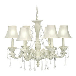 Sterling Industries - Sterling Industries 6 Lite Blanche Boudoir Traditional Chandelier X-057-29 - This Sterling Industries Blanche Boudoir Traditional chandelier is a charming fixture with lovely, ornate arms and finial. The tear drop and chain crystals add to the classical style of the chandelier. The white fabric shades complements the overall appeal. Make your room romantic with this chandelier.