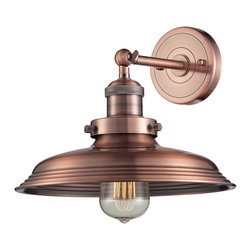 Elk Lighting - Elk Lighting Newberry Collection 1 Light Sconce In Antique Copper - 55030/1 - 1 Light Sconce In Antique Copper - 55030/1 in the Newberry collection by Elk Lighting This series has a vintage character in both style and detailing with a spun metal shade held by a solid cast socket holder.  The backplate has crisp lines etched into its material that reflect the shade elements.  Finishes include Polished Nickel, Brushed Nickel, Antique Copper, and Oil Rubbed Bronze.  Wall Sconce (1)