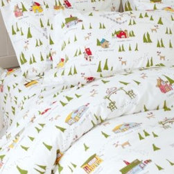 Garnet Hill - North Pole Holiday Percale Duvet Cover - Double/Queen - White Print - This bedding is your map to all the hottest spots at the North Pole, printed on a snowy white ground of 200 thread count pure combed long-staple cotton. Sights include Santa's Workshop, Cocoa Cafe, Candy House, Sled Shop, Reindeer Barn, Elf Chalet and even Santa's House - all nestled among pine trees and reindeer tracks. Fitted sheet is fully elasticized for a better fit.