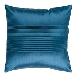 Surya Rugs - Teal Blue 22 x 22 Pleated Pillow - Simple yet stylish. This pillow is a mixture of a solid and striped design. The color teal accents this decorative pillow. This pillow contains a poly fill and a zipper closure. Add this 22 x 22 pillow to your collection today.  - Includes one poly-fiber filled insert and one pillow cover.   - Pillow cover material: 100% Polyester Surya Rugs - HH024-2222P