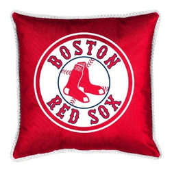 Sports Coverage - MLB Boston Red Sox Sidelines Toss Pillow - Make that new officially licensed MLB Boston Red Sox Sidelines Toss Pillow look as good as it feels. A must have for any true fan. A New Design - Same great quality!! Coordinating Toss pillow to match jersey material logo Comforter. Pillow is 17 x 17, 100% Polyester Cover and Fill. SIDELINES is trimmed in teams secondary color. 100% Polyester Jersey. Spot Clean only.