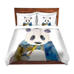 DiaNoche Designs - Duvet Cover Twill - Panda - Lightweight and super soft brushed twill Duvet Cover sizes Twin, Queen, King.  This duvet is designed to wash upon arrival for maximum softness.   Each duvet starts by looming the fabric and cutting to the size ordered.  The Image is printed and your Duvet Cover is meticulously sewn together with ties in each corner and a concealed zip closure.  All in the USA!!  Poly top with a Cotton Poly underside.  Dye Sublimation printing permanently adheres the ink to the material for long life and durability. Printed top, cream colored bottom, Machine Washable, Product may vary slightly from image.