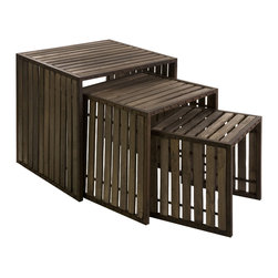 Oak Barrel Iron and Slatted Wood Nesting Tables - Set of 3 - *Set of 3 nesting tables that give off a industrial look.