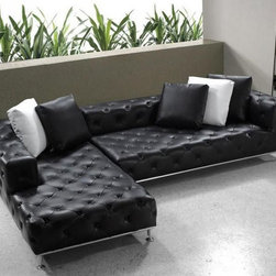 Elegant Tufted Full Leather Corner Couch - Features: