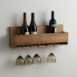Wine-Stem Rack - A space-saving wall rack stores wine and glasses in straightforward, farmhouse kitchen style. Lines-up a half case of the grape, with half-dozen stemmed glasses suspended below. Made from acacia, a wood noted for its attractive grain.