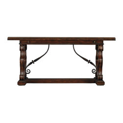 """Stanley Furniture - Costa Del Sol-Charneira Family Console - As any close-knit family knows, the number of visitors at an impromptu event can swell at any moment. How lovely to be prepared with the effortlessly expanding Charniera Family Console. Literally meaning """"hinge,"""" this traditional convertible top console is a throwback to those found in the turn-of-the-century French countryside. The matching lower support braces are forged iron, curled to repeat the lion's paw motif of the channel-grooved hickory uprights. Suitable as a compact sofa console when closed, the console top expands to a full dining width of 38 inches. An unexpected option for homes requiring additional dining space."""