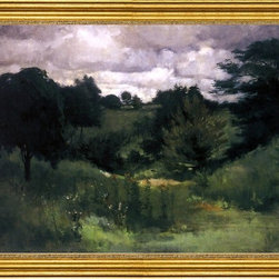 "John Twachtman-16""x24"" Framed Canvas - 16"" x 24"" John Twachtman Dark Trees, Cincinnati framed premium canvas print reproduced to meet museum quality standards. Our museum quality canvas prints are produced using high-precision print technology for a more accurate reproduction printed on high quality canvas with fade-resistant, archival inks. Our progressive business model allows us to offer works of art to you at the best wholesale pricing, significantly less than art gallery prices, affordable to all. This artwork is hand stretched onto wooden stretcher bars, then mounted into our 3"" wide gold finish frame with black panel by one of our expert framers. Our framed canvas print comes with hardware, ready to hang on your wall.  We present a comprehensive collection of exceptional canvas art reproductions by John Twachtman."