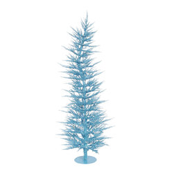 "Vickerman - Sky Blue Laser Tree 150BL 1262T (6' x 26"") - 6' x 26"" Sky Blue Laser Tree 150 Blue Mini Lights 1262 PVC tips, with metal base."