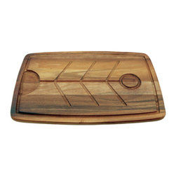 Acacia Turkey/Roasted Meat Serving Board - We love the dual purpose of this acacia wood carving board. One side is smooth for everyday cutting, but the opposite surface has deep grooves for collecting the liquids from your roasted turkey, preventing messy counters.
