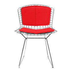 Knoll - Bertoia Side Chair With Red Back and Seat Cushions - Minimalist yet vibrant, this chair is a definite showstopper. Harry Bertoia's modern design perfection is at the forefront of this piece, making it one you'll cherish in your home as a precious work of functional art.