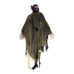 n/a - Flying Werewolf Ghoul with Light Up Eyes and Sound - This flying werewolf ghoul is an essential addition to your creepy Halloween decor, and it is sure to scare trick-or-treaters. The ghoul is sound activated and starts screeching and cackling with its red eyes flashing in the darkness. Its 'body' is made of strips of gauze and it has posable arms and a resin head. Hang it from the loop on top of the head, or string it up by the back and the head with arms outstretched for the flying effect. The ghoul measures 36 inches from the top of the head to the bottom of the gauze strips. It runs on 2 AA batteries (included) that are replaceable, so you can enjoy startling those little candy beggars year after year.