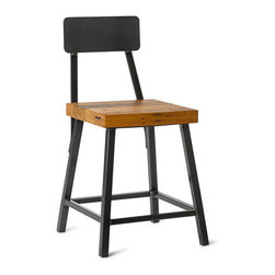 """Vermont Farm Table - Reclaimed Chestnut Square Metal """"Bar"""" Stool with Back, 18"""" - Available in three standard sizes - 18"""", 25"""" and 30"""".   All wood options available in 1.75"""" thick seat. Overall seat size 13.5"""" x 13.5""""."""