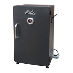 """Landmann - SM 32"""" Electric Smoker Black - Smoky Mountain 26"""" Electric Smoker. Landsman's new Smoker with 1500W heating element provides the optimum temperature range ranging from 100 to 260 . Utilizing an independent plug-In temperature controller you will be able to easily set and maintain your desired temperature throughout the smoking process and located on the door is a beveled Easy-to-Read temperature gauge for quick temperature monitoring. The 3-In-1 Tray incorporates the water pan wood chip box with lid and grease tray into one component which is located above the 1500W heating element. The 442 square inch smoking chamber is tightly secured with a Built-In magnetic door closer. Three chrome-plated cooking racks provide ample smoking area for a variety of meat. This smoker has a rear panel vent port for proper smoke and heat release. Equipped with wrought iron side handles this smoker can be easily transported.. Solid steel construction. Adjustable feet. CSA Certified. Black. This item cannot be shipped to APO/FPO addresses. Please accept our apologies."""