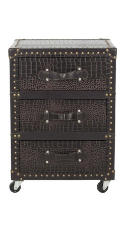 Safavieh - Llyoyd 3 Drawer Rolling Chest/Dark Brown Croc Leather-Black - Welcome to the global economy. The Lloyd Three-Drawer Rolling Chest with luscious dark brown croc leather and brass-finished iron nail heads is perfect for the executive office or the day-to-day armchair traveler. (Pending)