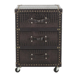 Safavieh - Llyoyd 3 Drawer Rolling Chest/Dark Brown Croc Leather-Black - Welcome to the global economy. The Lloyd Three-Drawer Rolling Chest with luscious dark brown croc leather and brass-finished iron nail heads is perfect for the executive office or the day-to-day armchair traveler.