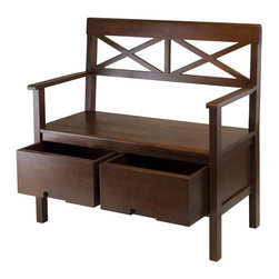 Winsome Wood - 37.47 in. High Back Bench - Two storage drawers. Comfortable seating. Classic design. X-back. Weight capacity: 220 lbs.. Made from solid and composite wood. Antique walnut finish. Assembly required. Seat: 18.35 in. H. Drawer: 15.43 in. L x 14.76 in. W x 7.48 in. H. Ground clearance: 7.16 in. H. Seat: 34.72 in. L x 17.13 in. W. Overall: 38.66 in. L x 21.05 in. W x 37.47 in. H