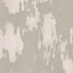 Kathy Kuo Home - Distressed Plaster Industrial Loft Wallpaper - Linen - This trompe l'oeil trickery will appeal to your quirky sense of humor and give a rustic aged background to your favorite setting. The coated wallpaper is designed to look like peeling plaster, but don't worry, there are no flakes to sweep up.