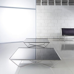 Cale Stainless Steel Square Coffee Table - Cale Square Coffee Table features stainless steel frame with glass or wood top. The top is available in Black Glass or Cathedral Oak.
