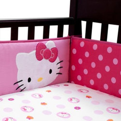 "Lambs & Ivy - Lambs & Ivy Hello Kitty Garden Crib Bumper - This 4-piece bumper matches perfectly with the Lambs & Ivy Hello Kitty Garden Crib Bedding Collection. It measures 9.5"" high."