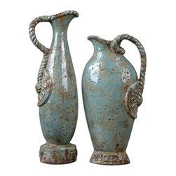 Uttermost - Uttermost Billy Moon Decorative Urn in Other - Shown in picture: Distressed - Crackled Light Sky Blue Ceramic With Antique Khaki Undertones. These vases feature a distressed - crackled light sky blue ceramic with antique khaki undertones accented by braided handles and embossing. Sizes: Sm-8x16x4 - Lg-7x18x5