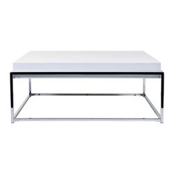 Eurostyle - Eurostyle Greta Square Coffee Table in White Lacquer - Square Coffee Table in White Lacquer belongs to Greta Collection by Eurostyle The Greta Square White Coffee Table will add a modern look to your living room. Urban elegance is portrayed with chromed base and a clean, smooth table top. The coffee table holds your drinks, magazines, or anything else your need, and does it all with style. Table Base (1), Table Top (1)