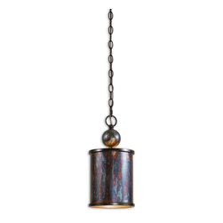 Uttermost - Uttermost Albiano Mini Pendant Light Fixture in Oxidized Bronze - Shown in picture: Oxidized Bronze Finish With A Antiqued Silver Inside. Complex tonalities of metallic oxidation enrich these classic - simple shapes.