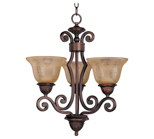 Joshua Marshal - Three Light Oil Rubbed Bronze Screen Amber Glass Up Mini Chandelier - Three Light Oil Rubbed Bronze Screen Amber Glass Up Mini Chandelier