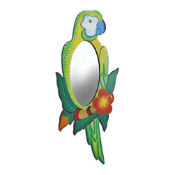 Zeckos - Tropical Green Parrot with Hibiscus Flower Wooden Mirror - Add a colorful accent to any room with this lovely parrot mirror. Made of wood, it measures 25 3/4 inches tall, 11 1/2 inches wide, and 1/4 inch thick. It is beautifully hand painted in green and yellow hues, and easily mounts to the wall with a single nail or screw. The mirror portion measures 9 3/4 inches tall by 5 inches wide. This piece makes a wonderful gift for friends with tropical island themed decor, and looks great at tiki bars.