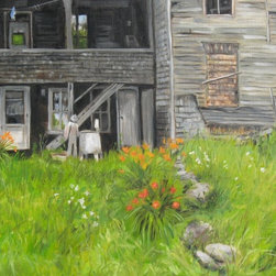 """""""Scarecrow And Washer"""" Artwork - This is a deserted old building in rural Maine.  Even though it's July the scarecrow from last or a previous fall still hangs to the porch column.  The old wringer washer adds to the classic rustic look.  Every old farmhouse has the sturdy daylilies growing nearby."""
