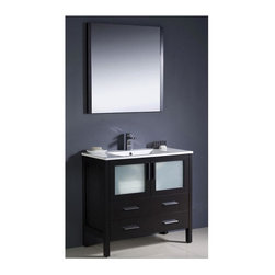 Fresca - Torino 36 in. Modern Bathroom Vanity w Undermount Sink (Isarus Chrome) - Choose Included Faucet: Isarus ChromeP-trap, Faucet, Pop-Up Drain and Installation Hardware Included. Single Hole Faucet Mount (Faucet Shown In Picture May No Longer Be Available So Please Check Compatible Faucet List). With overflow. Sink Color: White. Finish: Espresso. Sink Dimensions: 19 in. x12 in. x5 in. . Mirror: 31.5 in. W x 31.5 in. H x 1.25 in. D. Materials: Plywood w/ Veneer, Ceramic Sink w/ Overflow. Vanity: 35.75 in. W x 18.13 in. D x 33.75 in. HFresca is pleased to usher in a new age of customization with the introduction of its Torino line. The frosted glass panels of the doors balance out the sleek and modern lines of Torino, making it fit perfectly in either Town or Country decor. Available in the rich finishes of Espresso, Glossy White and Light Oak, all of the vanities in the Torino line come with either a ceramic vessel bowl or the option of a sleek modern ceramic undermount sink.