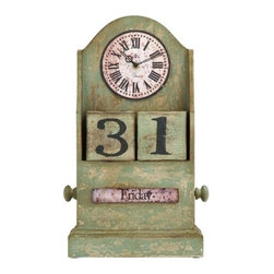 Benzara - Countryside Themed Table Top Clock with Calendar - Countryside Themed Table Top Clock with Calendar. The ultimate time piece for a lavish French countryside home. The clock face is tall and circular with classical Roman numerals on the face, in a vintage style aged wood.