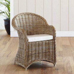 Kooboo Wicker Chair, Gray - If you have a lot of wood, this great gray wicker chair with a casual feel would be a nice change.
