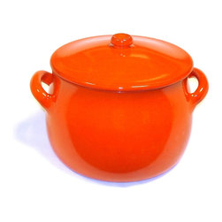 Authentic Italian Cookware - Piral, Stewpot  5.5 Quart, 2 handle with Lid,  Earthy Orange.