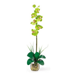 "Nearly Natural - Single Phalaenopsis Liquid Illusion Silk Flow - Not for outdoor use. Gorgeous orchid floral with 6 individual flowers. Anchored with river rocks and lush leaves. Artificial water set in a beautiful glass vase. Included container size: 4 in. W X 4 in. H10 in. W X 5 in. D X 27 in. H (4lbs). Check out this stunning phalaenopsis orchid! Bursting with color and personality the Phalaenopsis is perhaps the most popular variety of all the orchids. Expertly arranged, this piece was designed to enhance any space. It comes in 8 outstanding colors: Beauty, cream, dark pink, green, gold, mauve, orchid, and white. Standing 27"" tall, each plant comes with one amazing phalaenopsis stem that has 6 flowers and 2 buds. Finished with river rocks, leaves, artificial water and a classic glass vase this item is not to be missed."