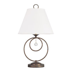 """Livex Lighting - Livex Lighting 6443 Chesterfield 29 Inch Tall Table Lamp - Livex Lighting 6443 Chesterfield One Light Table LampAdd beauty and functionality to any room with the Chesterfield 29"""" tall single light table lamp. Featuring a simple off-white linen hard back shade and a decorative curled body with hanging crystal accents, the Chesterfield is the perfect light for curling up with a good book.Livex Lighting 6443 Features:"""