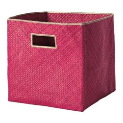 Serena & Lily - Pandan Bin  Fuchsia - Tailored storage with a tropical twist, these textural bins are made of sturdy, handwoven palm fronds with a stitched Natural trim.
