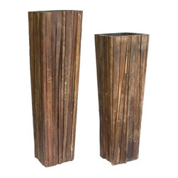 Rotsen Furniture - Ferpas Reclaimed Wood Planter Set - What an impressive pair. These naturally stately planters are crafted from hardwood scraps, making them ideal for your ecoconscious contemporary decor.