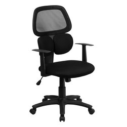 Flash Furniture - Mid-back Black Mesh Chair with Flexible Dual Lumbar Support - This uniquely designed office chair features dual lumbar support cushions that flex and is extremely comfortable. Chair also features a breathable mesh back/ back tilt control and pneumatic seat lift.