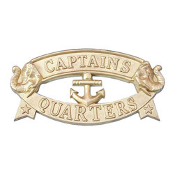 Handcrafted Model Ships - Solid Brass Captain's Quarters Sign - Nautical Wall Decor - Ideal for posting in a boat, boathouse or any room featuring a nautical decor theme, this brilliant brass sign clearly informs everyone what room it identifies. With a textured background and polished framing, this distinctive sign will be perfectly at home on you boat, or make you feel like you're on your boat when at home or the office.