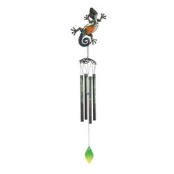 """GSC - 29"""" Orange-Green Colored Glass Lizard Wind Chime - This gorgeous 29"""" Orange-Green Colored Glass Lizard Wind Chime has the finest details and highest quality you will find anywhere! 29"""" Orange-Green Colored Glass Lizard Wind Chime is truly remarkable."""