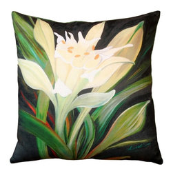 Pillow Decor - Pillow Decor - Pamianthe Lily 20 x 20 Throw Pillow - With a delicate blossom in cream and leaves of green, this Pamianthe Lily is set against a deep green and black background. Strokes of red accent the leaves adding warmth to the pillow. The image is a reproduction from a Sandra Forzani original painting and is available exclusively through Pillow Decor. Enjoy this pillow indoors and outdoors.