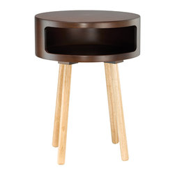 Manila Side Table in Cocoa - Sitting and looking pretty is just one of the things this cocoa side table excels at. Personally, we love the gentle shaping of the rectangle storage nook, but we're also partial to the circular table top's welcoming aesthetic. Truly a gem.