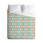 DENY Designs - Heather Dutton Ring A Ding Queen Duvet Cover - Are those records, CDs or simply a chain of circles? Whatever musical era defines you, this machine-washable duvet in retro colors is sure to be a hip hit for the bedroom.